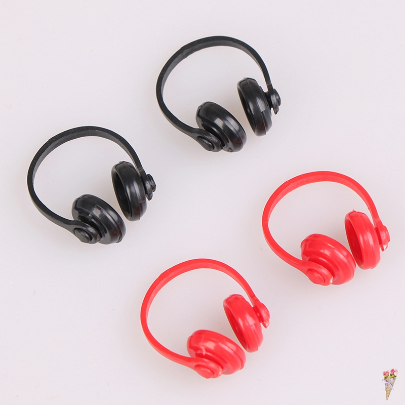 2Pcs 1/12 Headphone Decor Classic Toys For Child Kids Gift Dollhouse Miniatures Plastic Wireless Earphone Black And Red