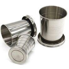 Taza plegable portátil de acero inoxidable para acampar vaso retráctil para viajes al aire libre taza plegable para bebidas portátil 75/140ml