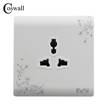 COSWALL Fashion Universal 3 Hole Wall Electrical Socket Power Outlet Brief White Art Flower Pattern Wall Panel AC 110~250V