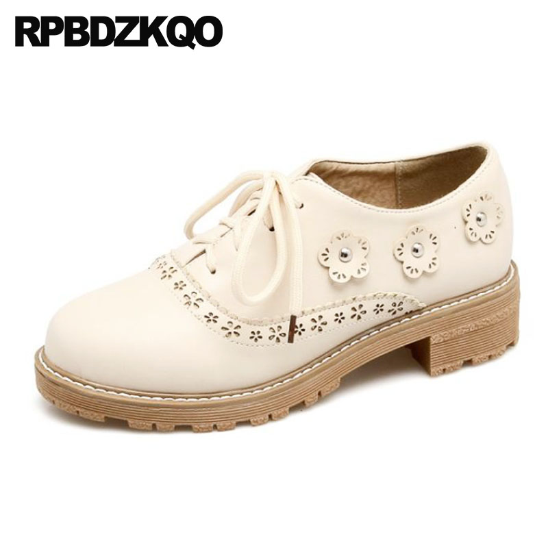 Size 4 34 Shoes Pumps Low Heels Chunky 11 43 Plus Casual Lace Up Oxford 10 42 Round Toe Customized Brogue Beige Ladies FlowerSize 4 34 Shoes Pumps Low Heels Chunky 11 43 Plus Casual Lace Up Oxford 10 42 Round Toe Customized Brogue Beige Ladies Flower