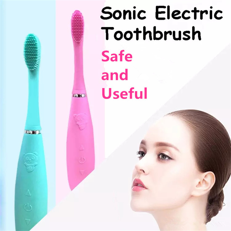цена на Free Shipping USB Rechargeable Sonic Silicone Electric Toothbrush Dental Waterproof Deep Clean Food Grade Brush Head