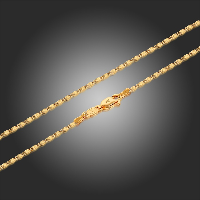 Yellow Solid Gold Color Carved Tile Link Chain 18\
