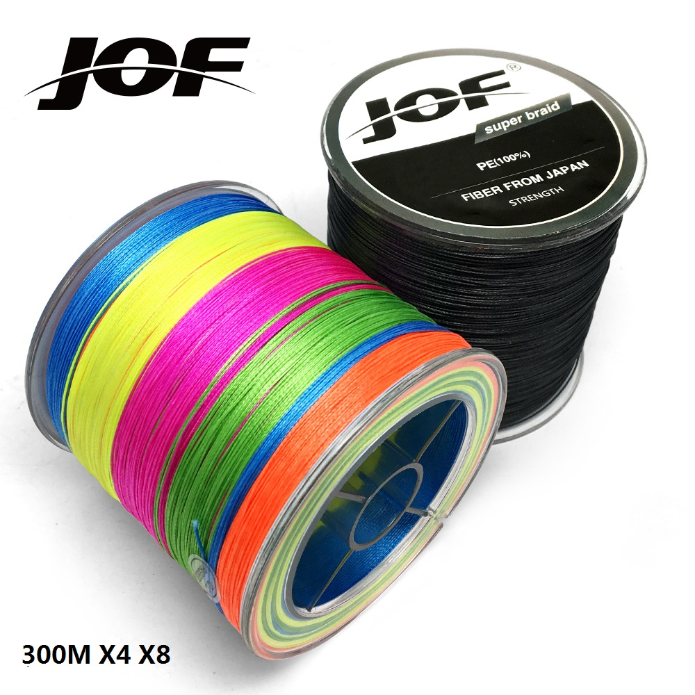 цена JOF 8 Strands 4 Strands 300M PE Braided Fishing Line Sea Saltwater Carp Fishing Weave Super Strong
