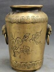 JP S62 Chiński Brązu Posąg FengShui Lion Head Kwiat Ptak Stare Han Zi Jar Pot Wazon w Posągi i rzeźby od Dom i ogród na
