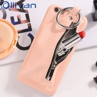 5PCS For Iphone 6 Case Wholesale OLLIVAN Zipper Leather Handbag Ring Buckle Wallet Stand Holder Cover
