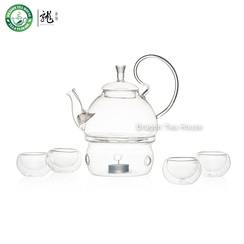 Clear Glass Tea Set Teapot with Filter Warmer Four Double Wall Teacups