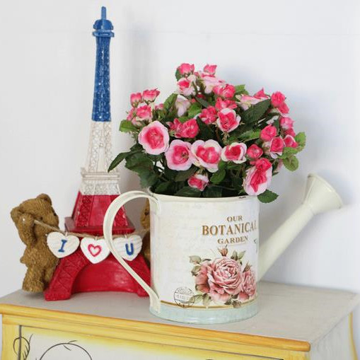 Pastoral Style Hand-painted Tin Buckets,<font><b>Flower</b></font> arranging barrels Bucket,Tin bevel watering pot,Free <font><b>Flower</b></font> Pots Planters