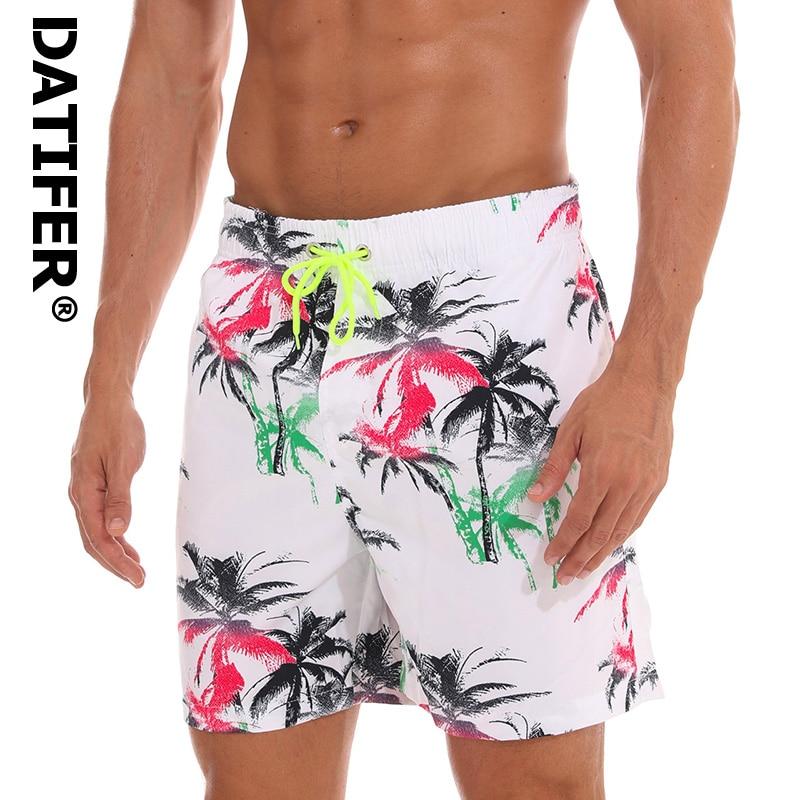 DATIFER Mens Print Beach   Board     Shorts   New Quick Dry Summer Surf SiwmwearBermudas Swim For Men Athletic Mens Gym   Shorts