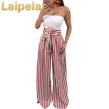 купить High Waisted Wide Leg Pants Women Trousers 2018 Autumn Elegant Black Casual Striped Bow Tie Drawstring Loose Palazzo Pants дешево