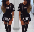 2016 New  T Shirt Dress Cotton Black Print  Sexy bodycon bandage Party Club  Dress Casual Outfit Plus Size