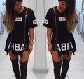 2016 Nuevo T Shirt Vestido de Algodón de Impresión Negro Sexy Traje de bodycon del vendaje del Partido Del Club Del Vestido Ocasional Más El Tamaño
