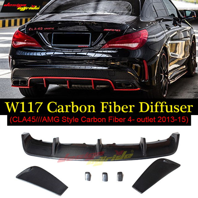 Carbon Fiber Black Revozport Look Rear Bumper Lip Diffuser For Mercedes  Benz CLA W117 2013