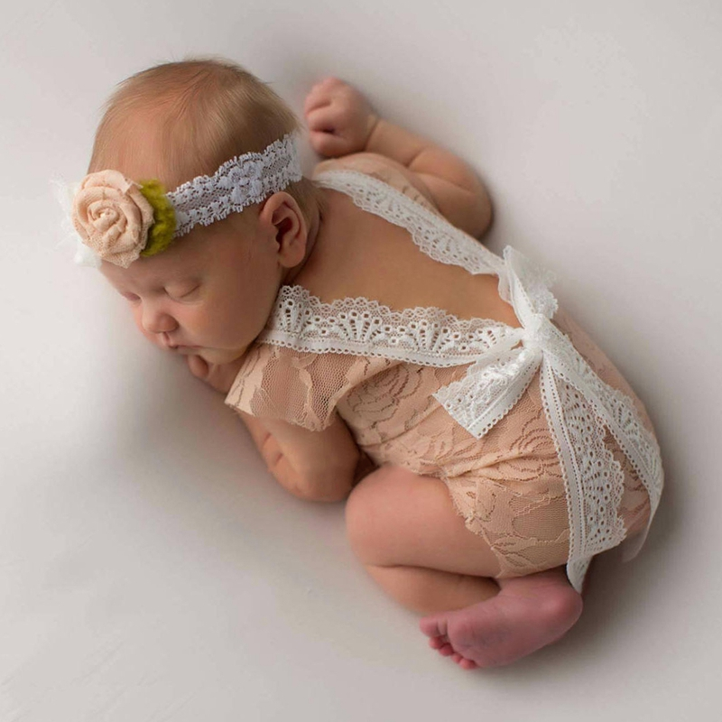 Baby Girls Lace Deep-V Backless Romper Jumpsuits Photography Prop Outfit