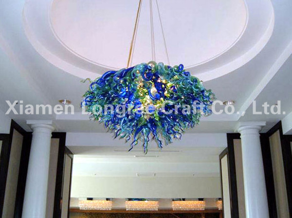 Luxury Cobalt Blue and Green Color LED Flush Mounted Blown Glass Chandelier Lighting