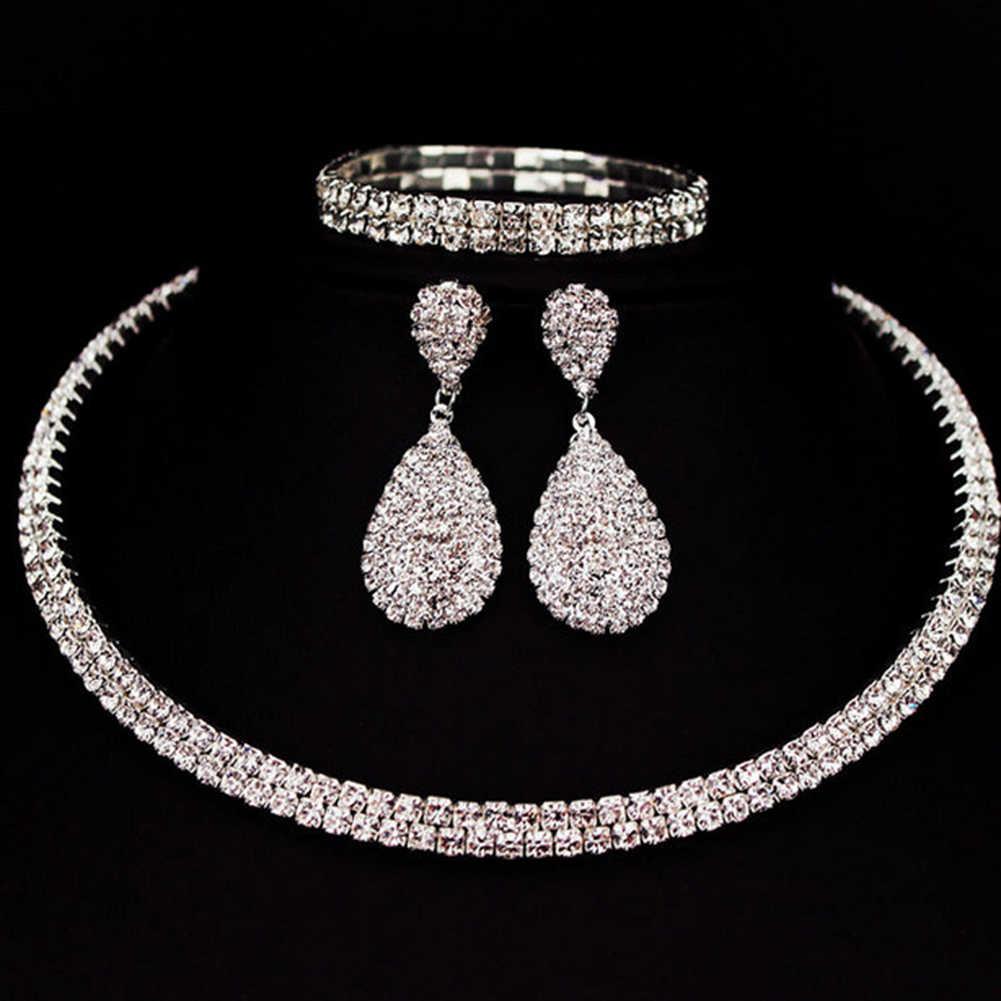 Fiesta mujer Diamante de imitación gargantilla nigeriano novia collar pendientes brazalete boda fiesta joyería conjunto Día de la madre collier africano