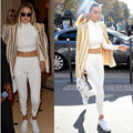 2017 Spring Autumn Brand New Women Set Tracksuit Track Suit Sweatsuit Long Sleeve Crop Top and Pants White Fashion Casual Set