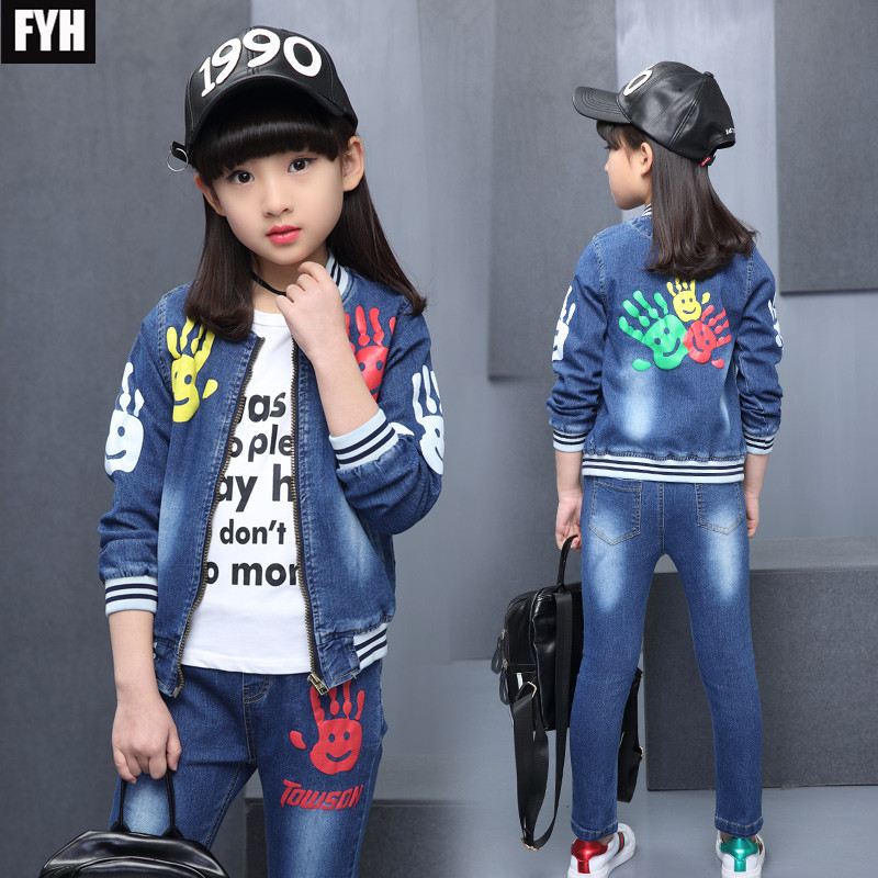 FYH 2018 Autumn Spring Girls Denim Clothing Set O-neck Jean Jacket+Jean Pants 2pcs Children Girls Denim Suit Kids Clothing Set baby fashion clothing kids girls cowboy suit children girls sports denimclothes letter denim jacket t shirt pants 3pcs set 4 13