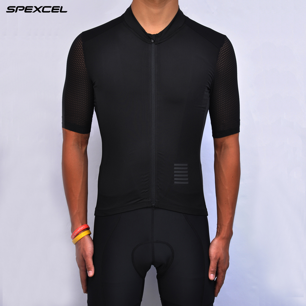 Spexcel Classic Black Cycling Jersey Italian Fabric Aero Race Fit