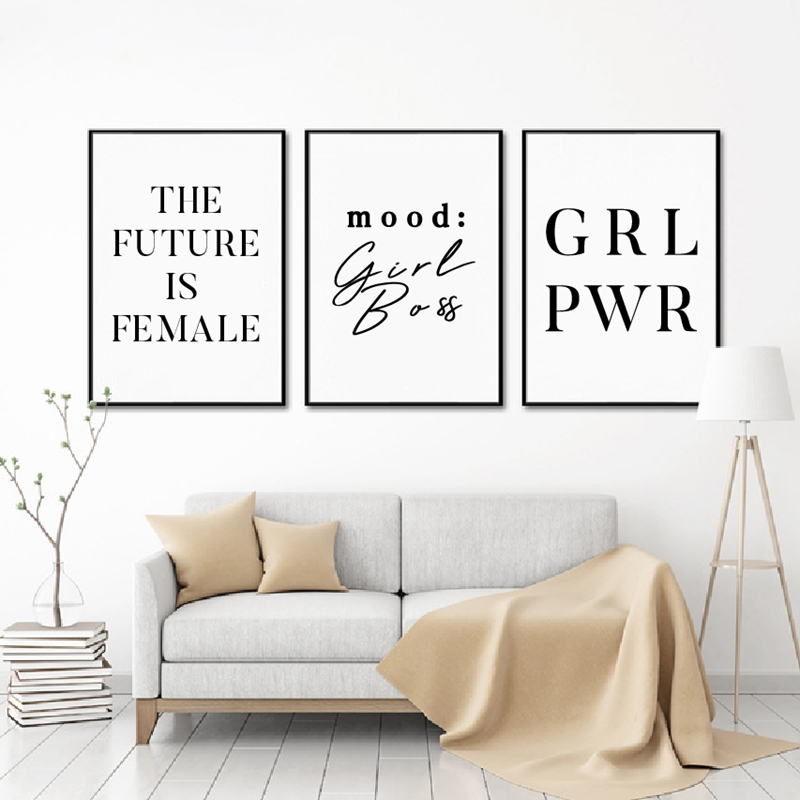 Girl Power Feminist Art Canvas Painting Wall Poster Office Decor Girl Motivational Quote Canvas Art Prints Modern Decoration image