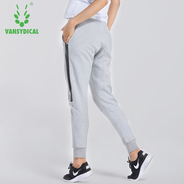 6c7d1ff2 Women Elastic Waist Running Jogging Pants Breathable Training Trousers  Female Autumn Winter Sports Pants With Zip Pockets