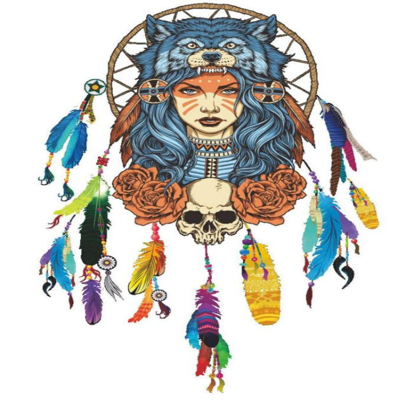 indian wolf headdress full color girl creative removable wall stickers waterproof posters paper adesivo de parede