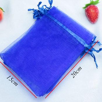 500pcs/lot Royal Blue Organza Bags 15x20cm Cosmetics Boutique Jewelry Packaging Bags Christmas Gift Bag Organza Pouches