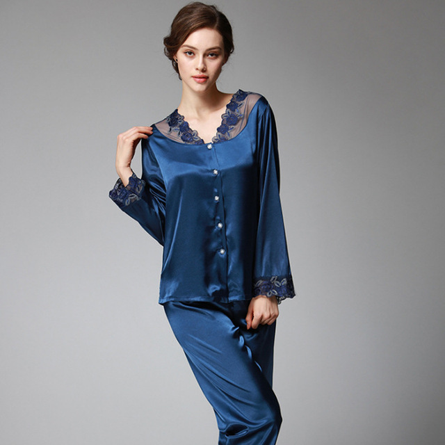 266b631d09f New Sexy Lace Slik Two Pieces Pajama Sets for Women Soft Solid Long Pants +  Tops Sleepwears Suits Homewear Lady 2018 Plus Size