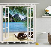 Ocean Beach Seascape Going Away Gifts Sunbeds Balcony Wooden Windows Summer Scene Tropical Island Shower Curtain