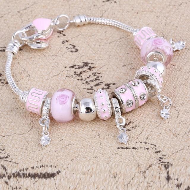 Pink Crystal Charm Silver Bracelets & Bangles for Women  Beads Silver Bracelet Femme Jewelry 2