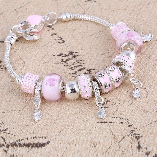 ZOSHI Pink Crystal Charm Silver Bracelets & Bangles for Women With Aliexpress Murano Beads Silver Bracelet Femme Jewelry 2