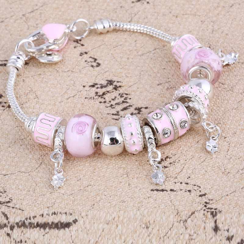 ZOSHI Pink Crystal Pesona Warna Perak Gelang & Gelang untuk Wanita dengan Aliexpress Murano Beads Perak Gelang Femme Perhiasan