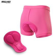 ARSUXEO Women Cycle Underwear 3D Padded Bicycle Bike Shorts Silicone Foam Gel Anti-Sweat Breathable Short