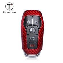T-carbon glass Carbon Fiber автомобильный чехол для ключей 5 кнопок для Mustang