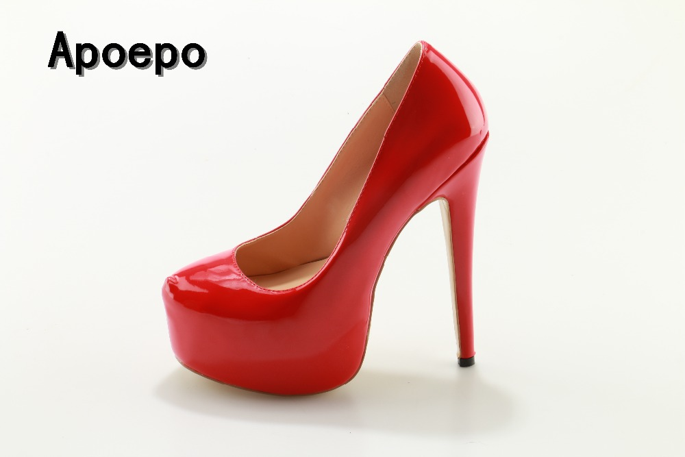 00a221bc40b New Brand Red Patent leather Platform pumps for woman sexy slip on dress  heels super high wedding shoes 2017 club wear heels -in Women s Pumps from  Shoes on ...