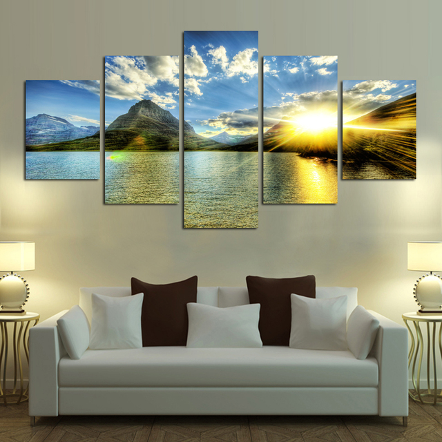 Hot Sale Modern Mountain And River Landscape Canvas Painting Wall Art Spectacular Sunshine Picture For