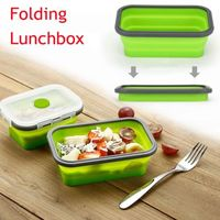 4pcs Silicone Rectangle Lunch Box Collapsible Bento Box Folding Food Container Bowl 350/500/800/1200ml for Dinnerware