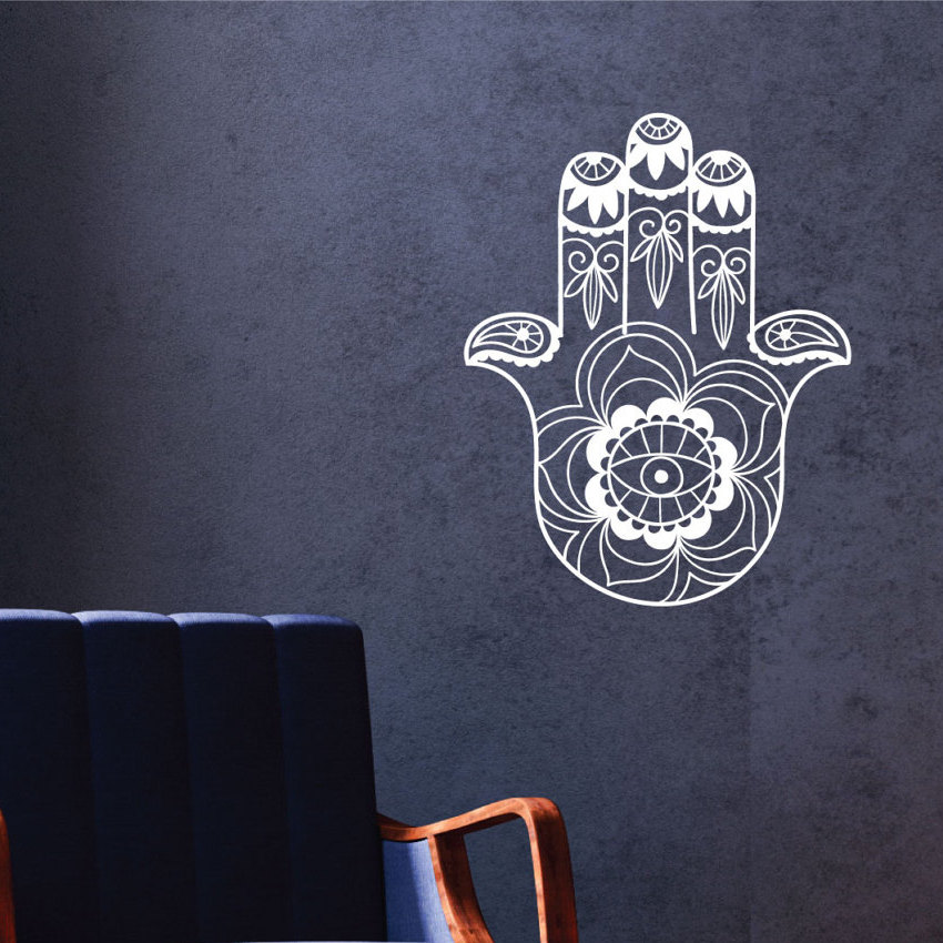Hamsa Hand Yoga Vinyl Wall Stickers Indian Lotus Pattern Wallpaper Mural For Living Room Bedroom Decor In From Home Garden On Aliexpress