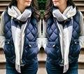 Mujeres Pastilla de moda Abrigos de Invierno Delgado Fleece Cálido Parka Chaqueta Chaleco Sin Mangas Capa Del Chaleco de gilet
