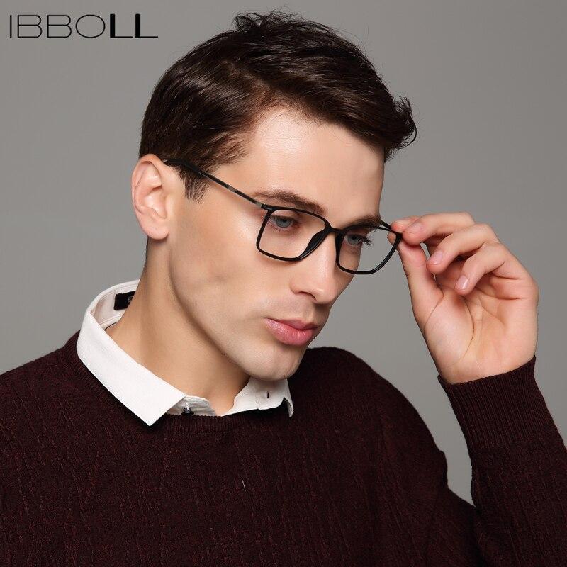 Ibboll Mens Armações de Óculos Ópticos Óculos de Armação de Quadros  Envoltório Quadrado Do Vintage Da Moda de Luxo Da Marca Homens Oculos  Masculino S6075 em ... bffd3f992b
