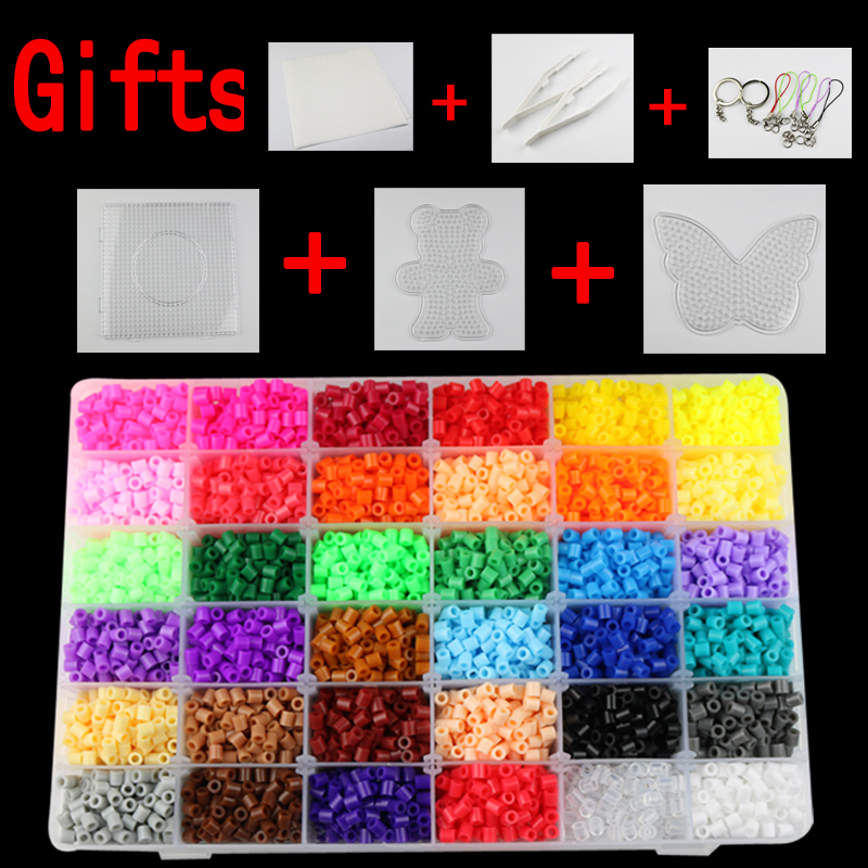 24/36 colors box set hama beads TOYS 5mm perler educational Kids diy toys fuse beads plussize template sheets ironing paper(China)