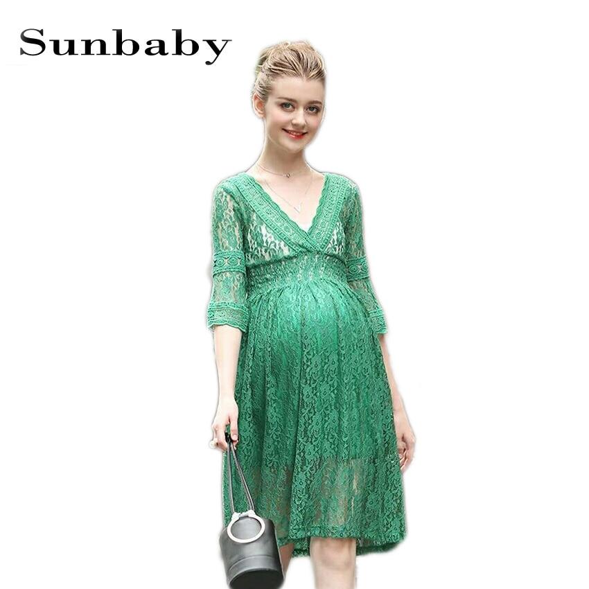 2017 Summer Fashion maternity vestidos elegant lace work style pregnancy dress photography maternity dresses