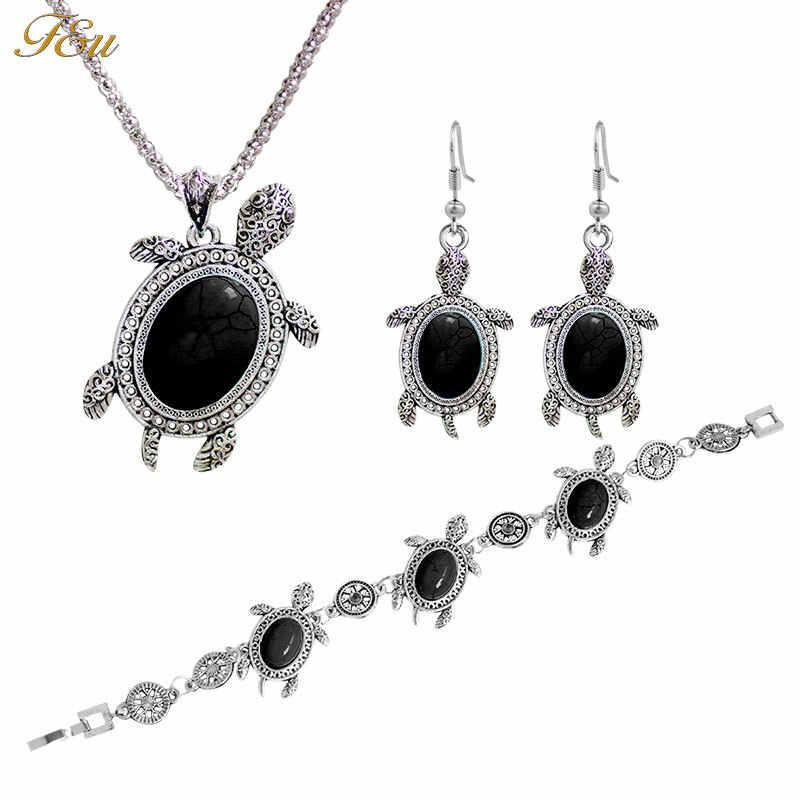F & U Mode Tier Schildkröte Alte Silber Farbe Anhänger Böhmen Stil Halskette Ohrringe Und Armband Schmuck Sets Feine Für frau