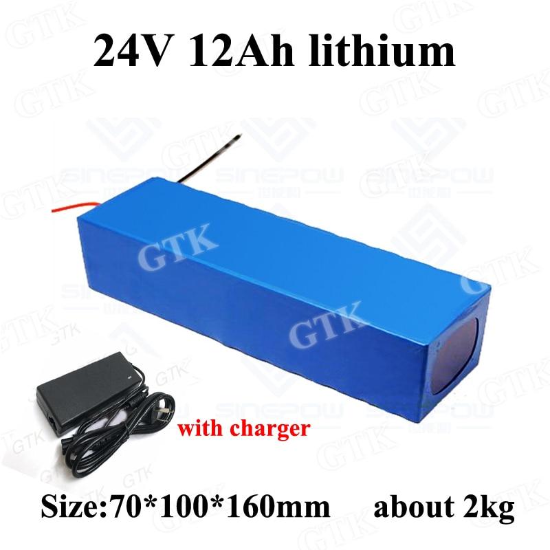 GTK 24v 12ah batería de iones de litio 3s BMS 3,7 v li-ion bateria 18650 24v 12ah para 350w ancianos scooter e bicicleta + 2A cargador