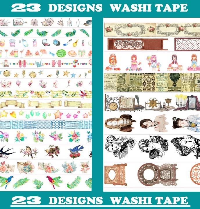 23Designs NEW Star/Flowers/Girls/Birds/Butterfly Pattern Japanese Washi Decorative Adhesive DIY Masking Paper Tape Sticker Label ruth heller s designs for coloring birds