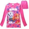 La ropa del bebé Tops camiseta de las muchachas 2016 moda de la historieta Dog patrulla largo manga vestir de los niños para las niñas camiseta patrulla