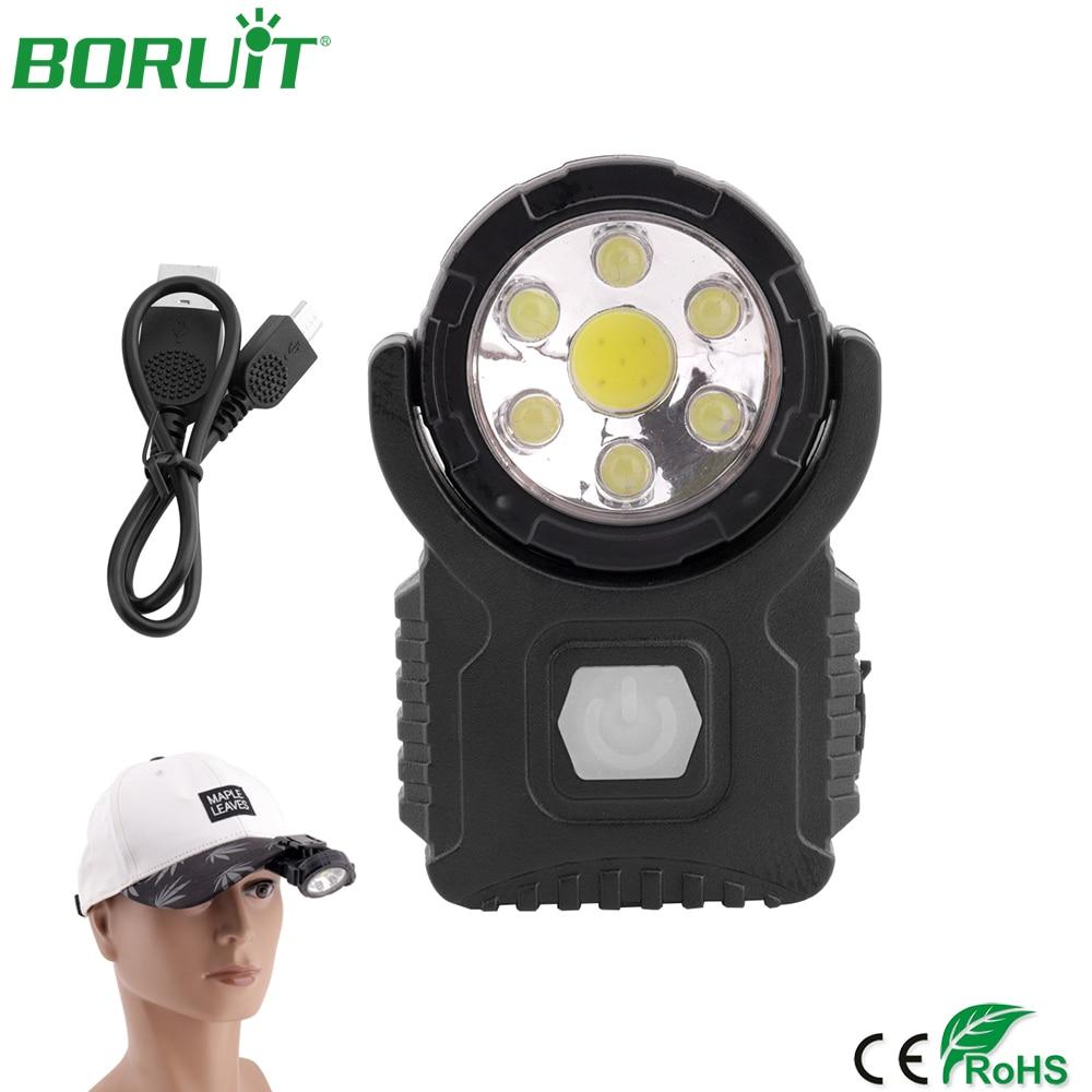 Waterproof COB Work Headlight LED Light Outdoor Fishing Clip-On Head Lamp