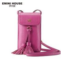 EMINI HOUSE Vintage Genuine Leather Tassel Phone Bag Women Shoulder Bags Crossbody Bags For Women Mini