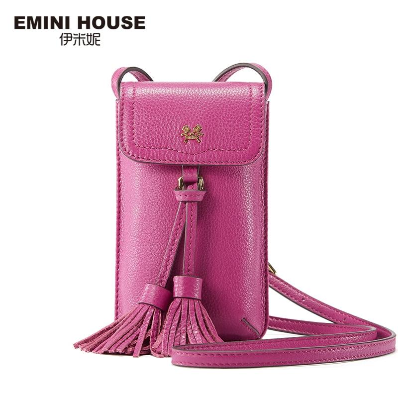 Emini house 8 colores de la borla de cuero genuino bolso del teléfono bolsas vin