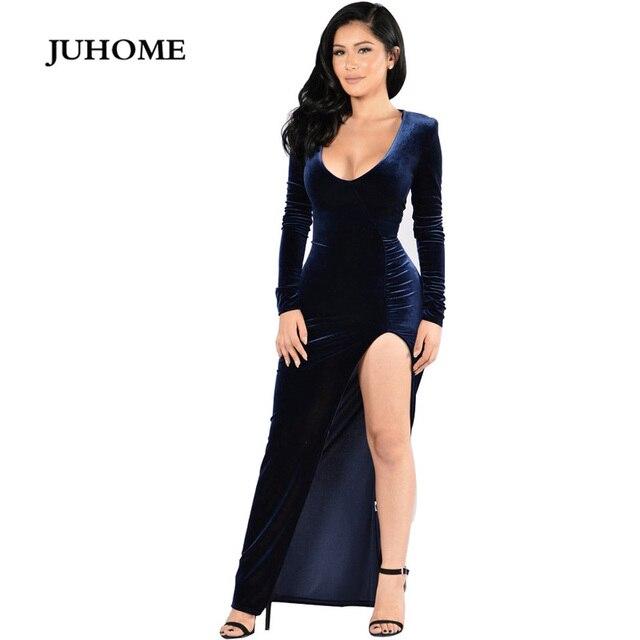 440199a308a7 Vendita calda elegante reddito vestito di velluto blu split manica lunga  maxi profondo scollo a v sexy