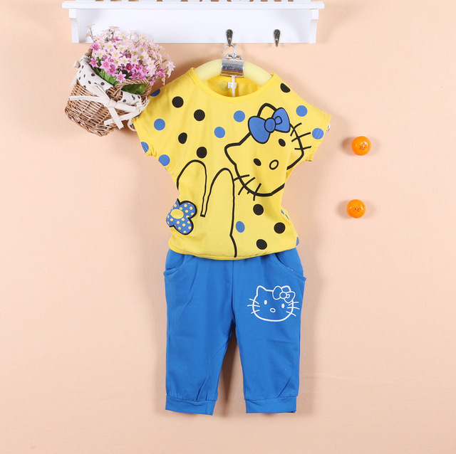 2015 summer new style girl set kitty suits for girl clothing t shirt+pants 4 pcs/lot size M L XL XXL